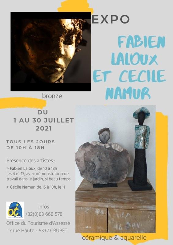 Affiche expo juillet 2021 OT Assesse   Mme Namur & M. Laloux